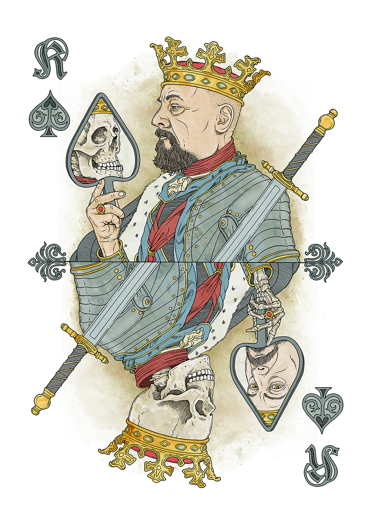 """52Aces – The """"Original"""" in its third edition – is a limited poker deck (999 Decks), were all 54 cards were created unique by international artists in there own style. I did my favorite card, the king of spades."""