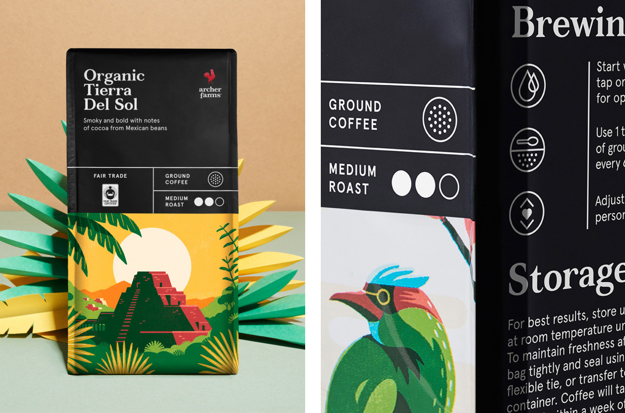 Archer Farms Coffee Packaging Illustration by Tom Haugomat
