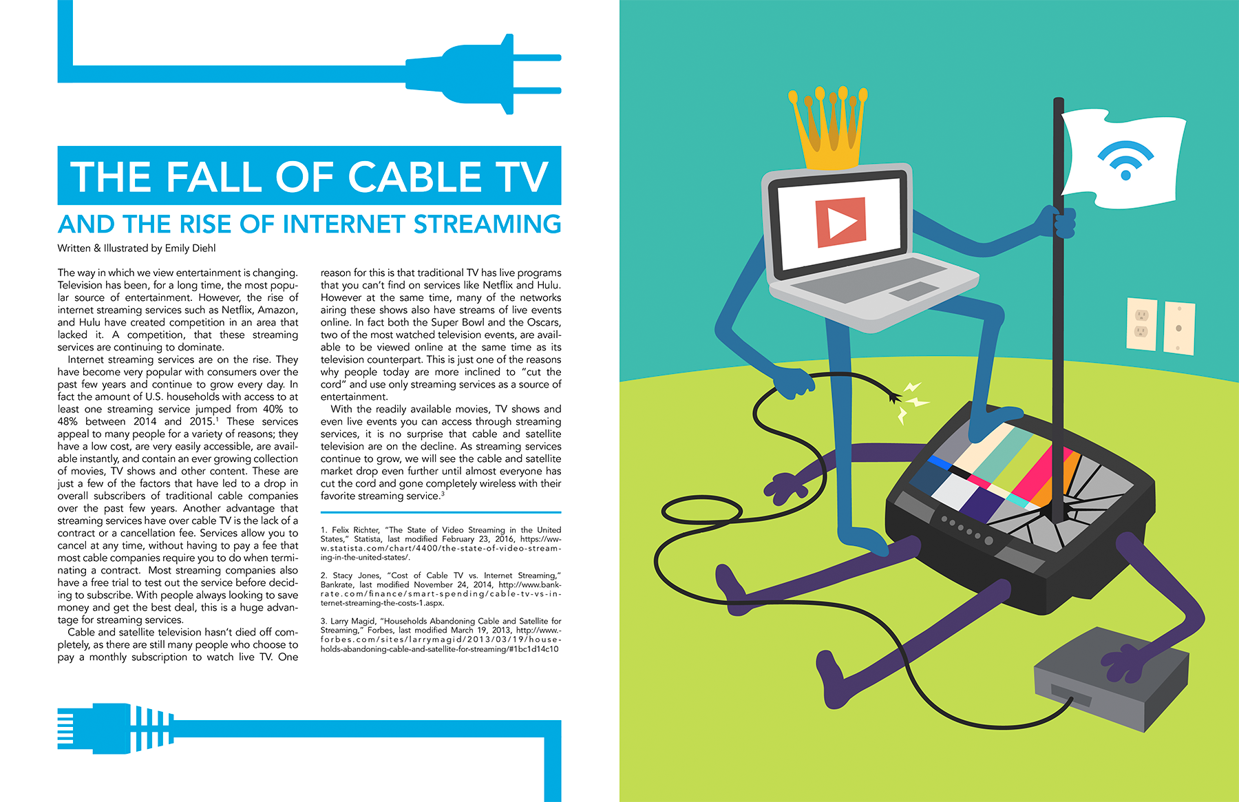 The Fall Of Cable Tv Editorial Illustration Design On Behance Diagram