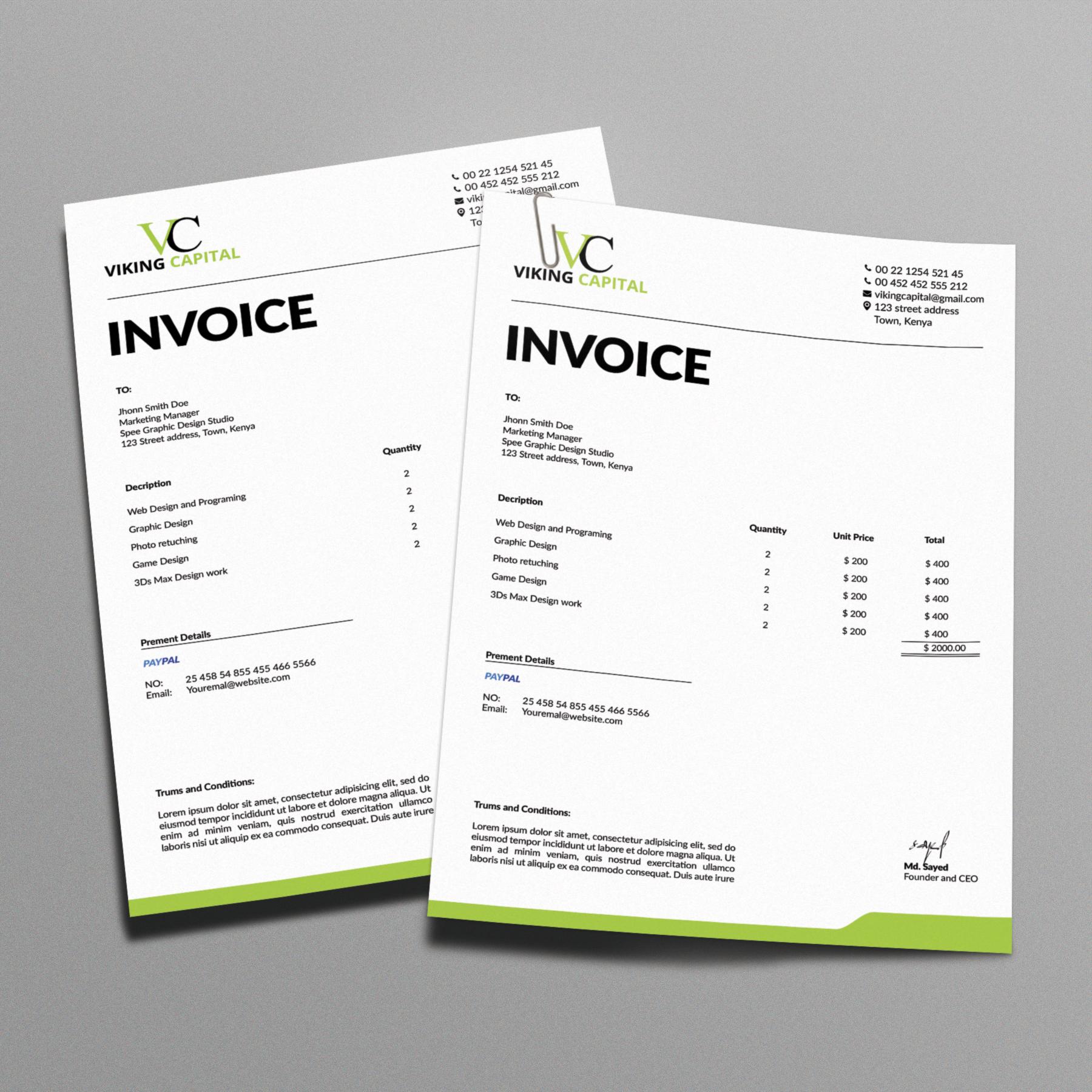 Minimalist Invoice Template On Behance  Invoice Designs