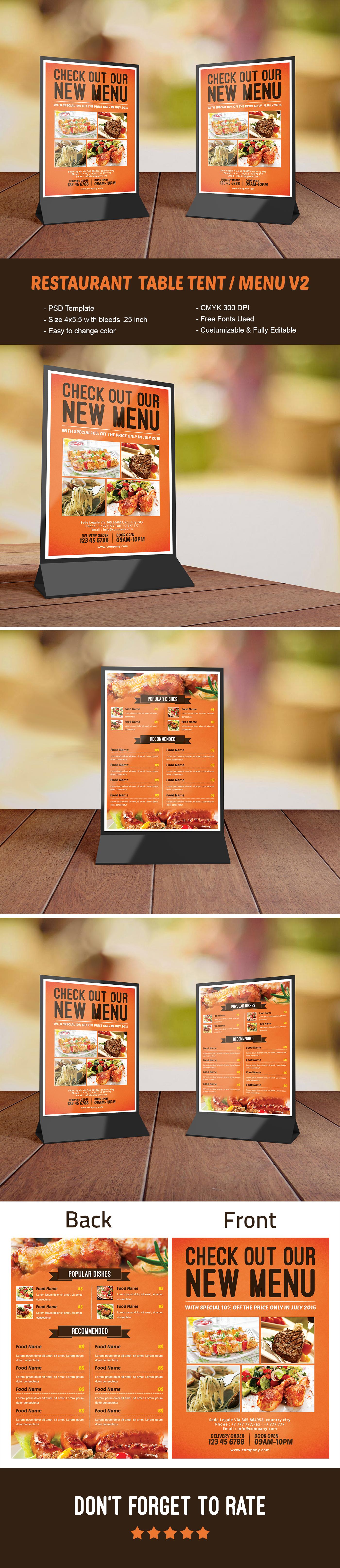 Restaurant Table Tent Menu V2 Template On Behance
