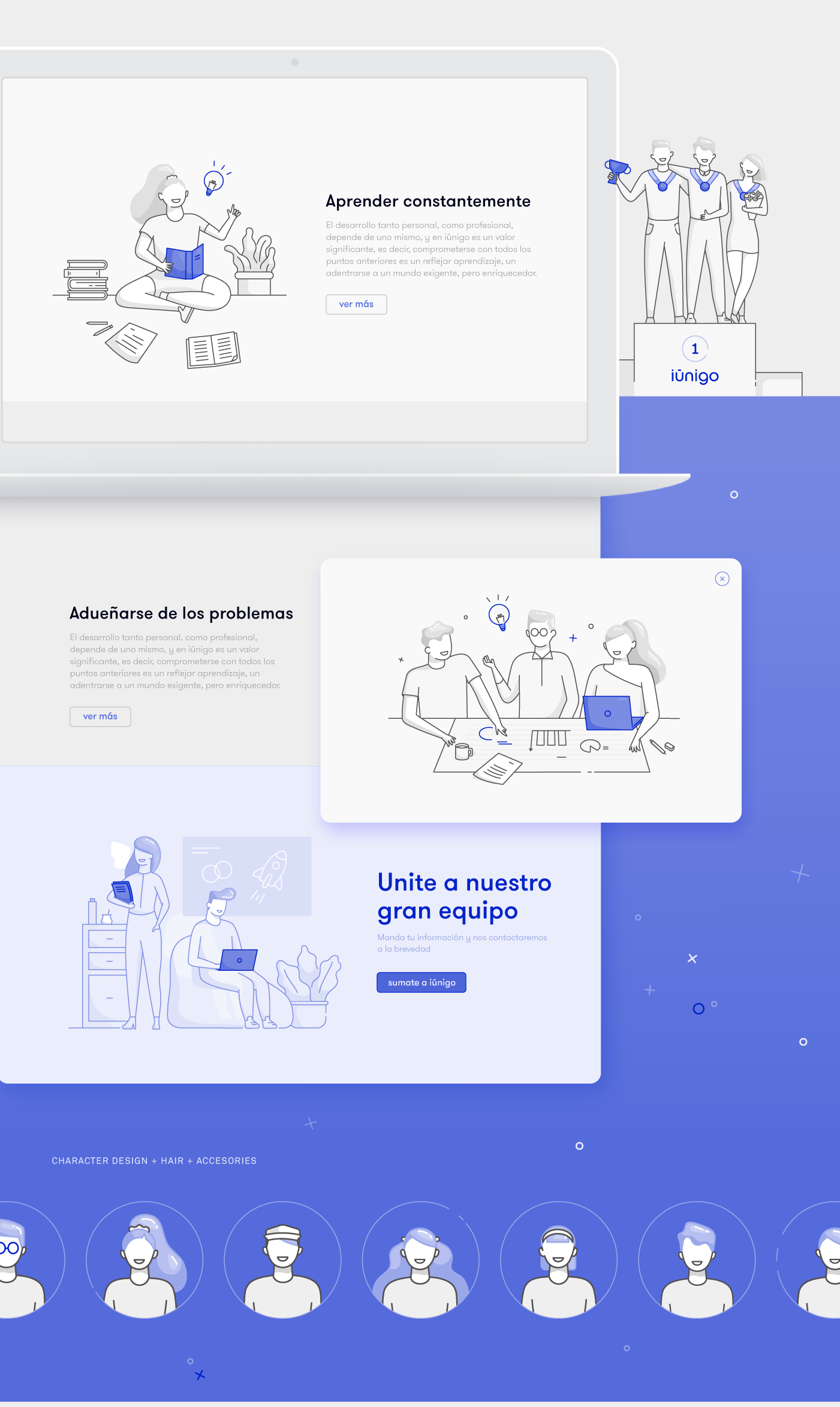 Lūnigo, all digital insurer illustrations for UI