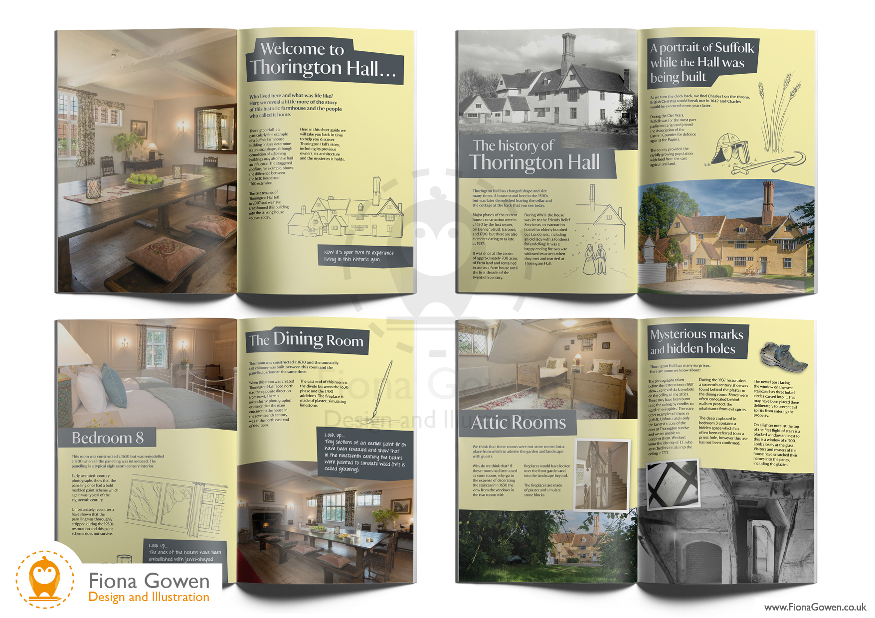 Interior spreads from the National Trust Holiday cottage guidebook for Thorington Hall in Suffolk. Designed and illustrated by Fiona Gowen