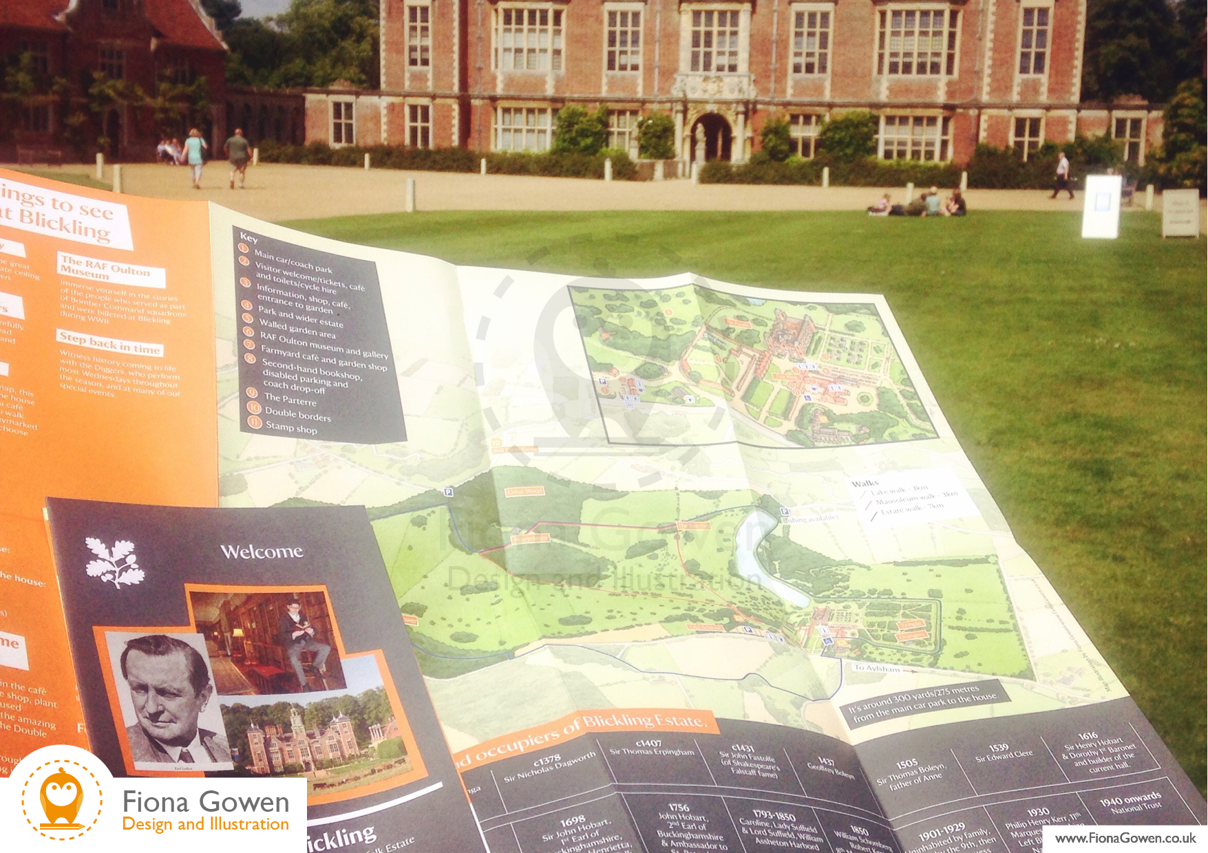 National Trust visitor leaflet for Blickling Estate, Featuring illustrated visitor map. Design and illustration by Fiona Gowen