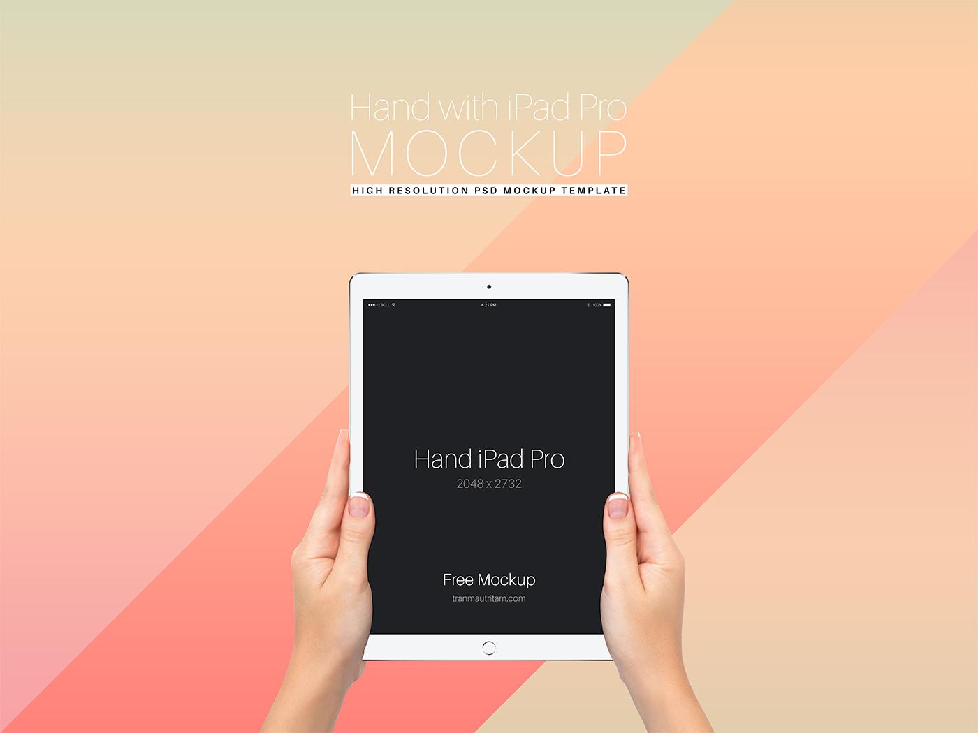 free hand with ipad pro psd mockup on behance