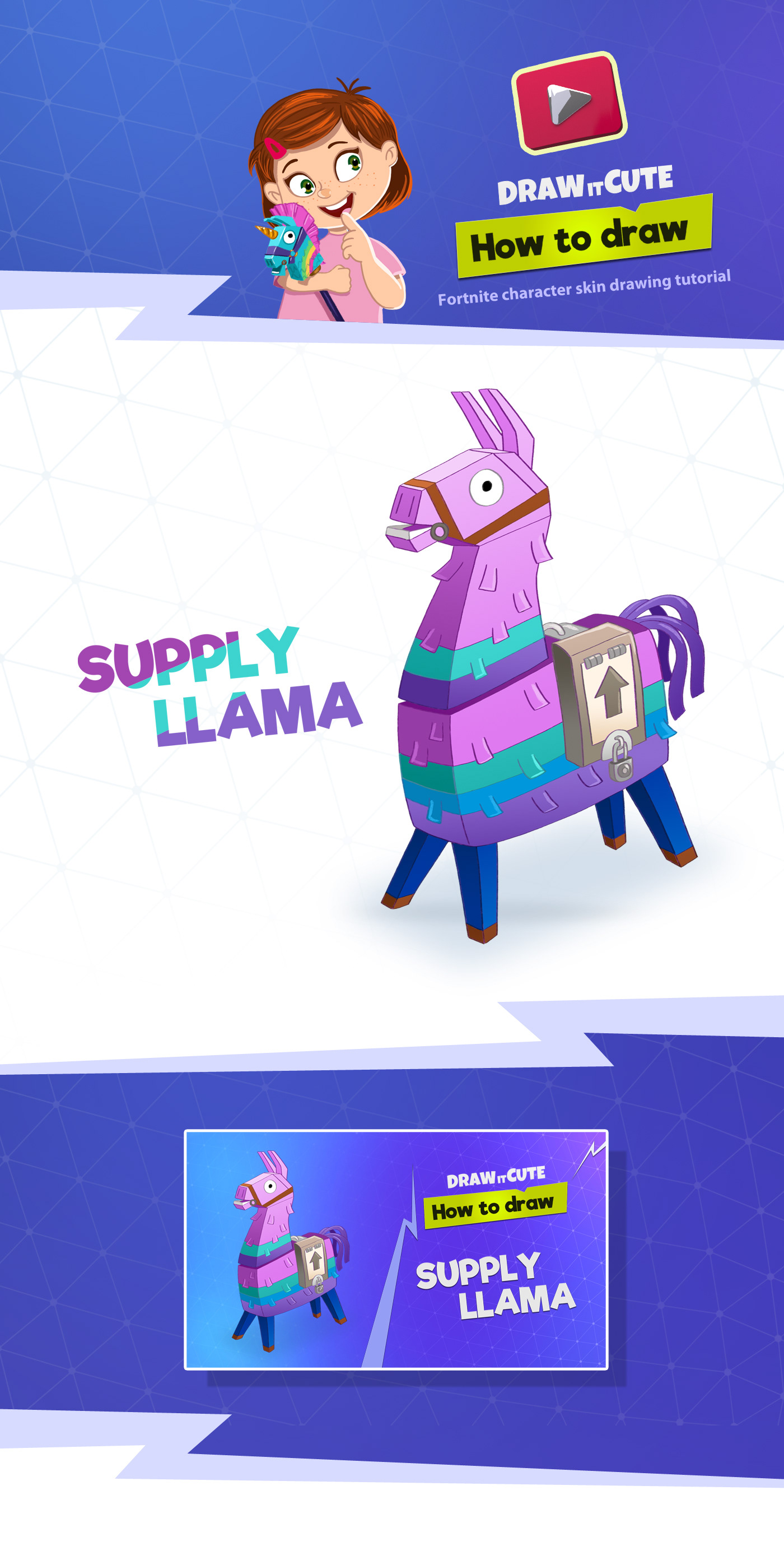 How To Draw Cute Llama Easy Fortnite Drawing Tutorial On Behance
