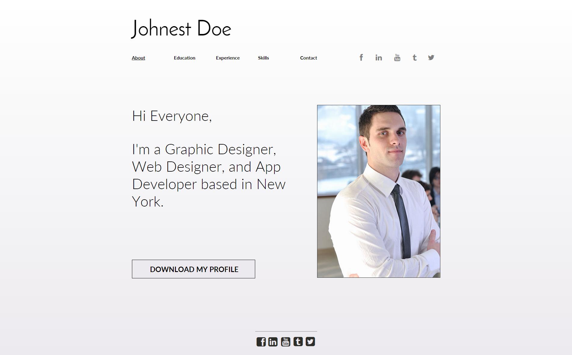 portrayal vcard online resume website concept