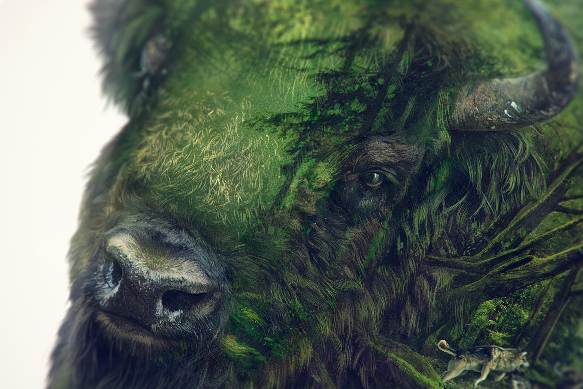 Digital Art: Bison by Lukasz Poslad