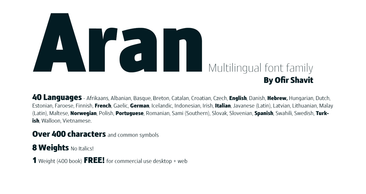 Aran 8 Weights Font Family Free Font On Behance