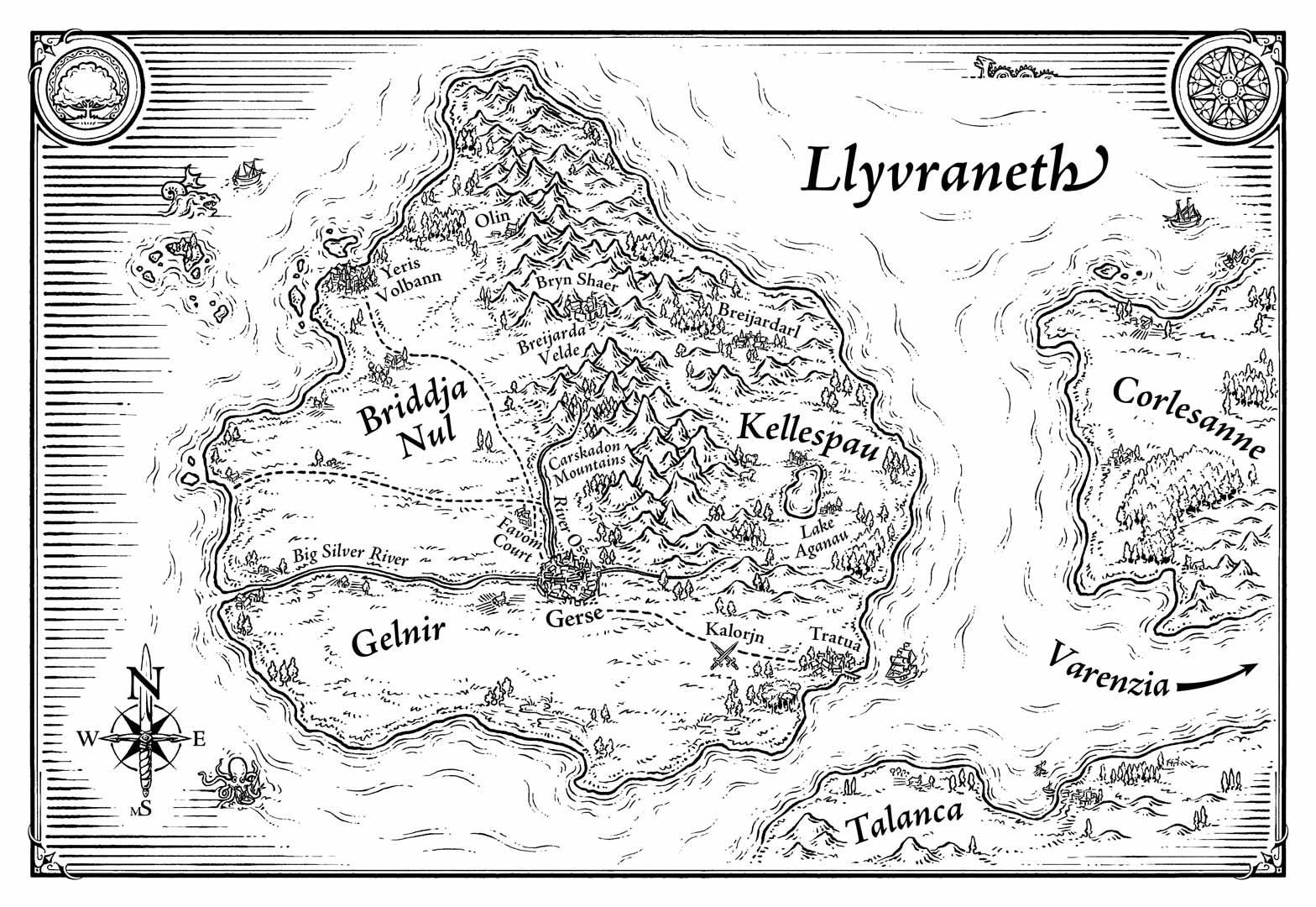 Map of Llyvraneth