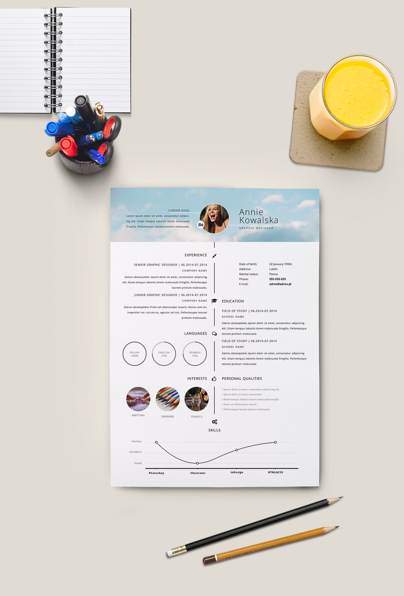 free minimalistic resume cv timeline illustrator on behance