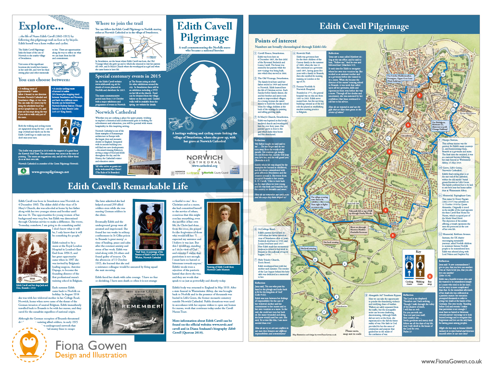Norwich Edith Cavell cycle trail map illustration and leaflet design by Fiona Gowen.