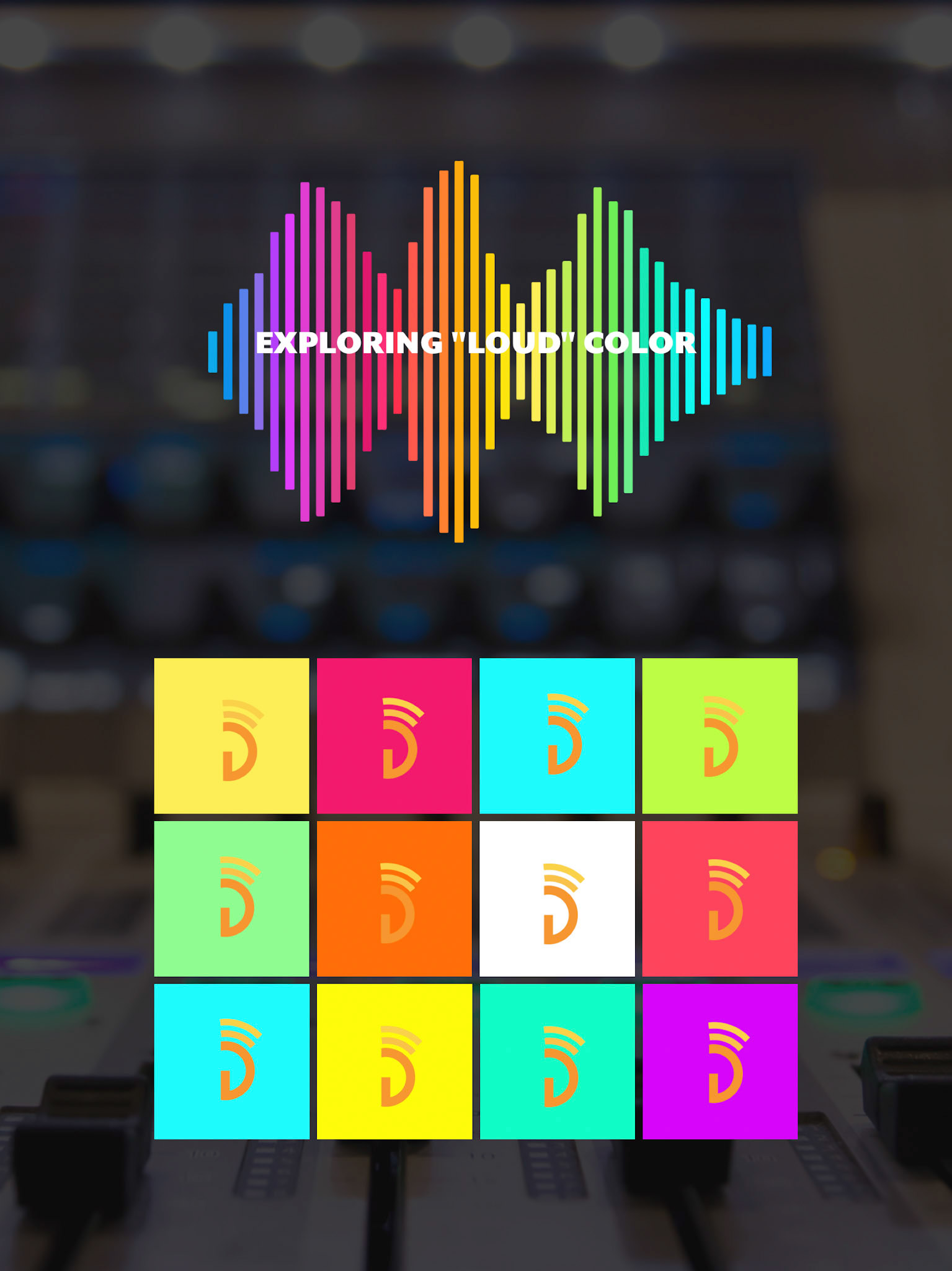 """- This image shows the color exploration. It has the spectrum of loud colors chose, laid out in sound waves, with text overlaying - ExPLORING """"LOUD"""" COLOR. Further down, is a grid of colors. Each tile has a different background color as the logo laid on each. This shows the color relation between the predominantly orange logo & """"loud"""" color."""