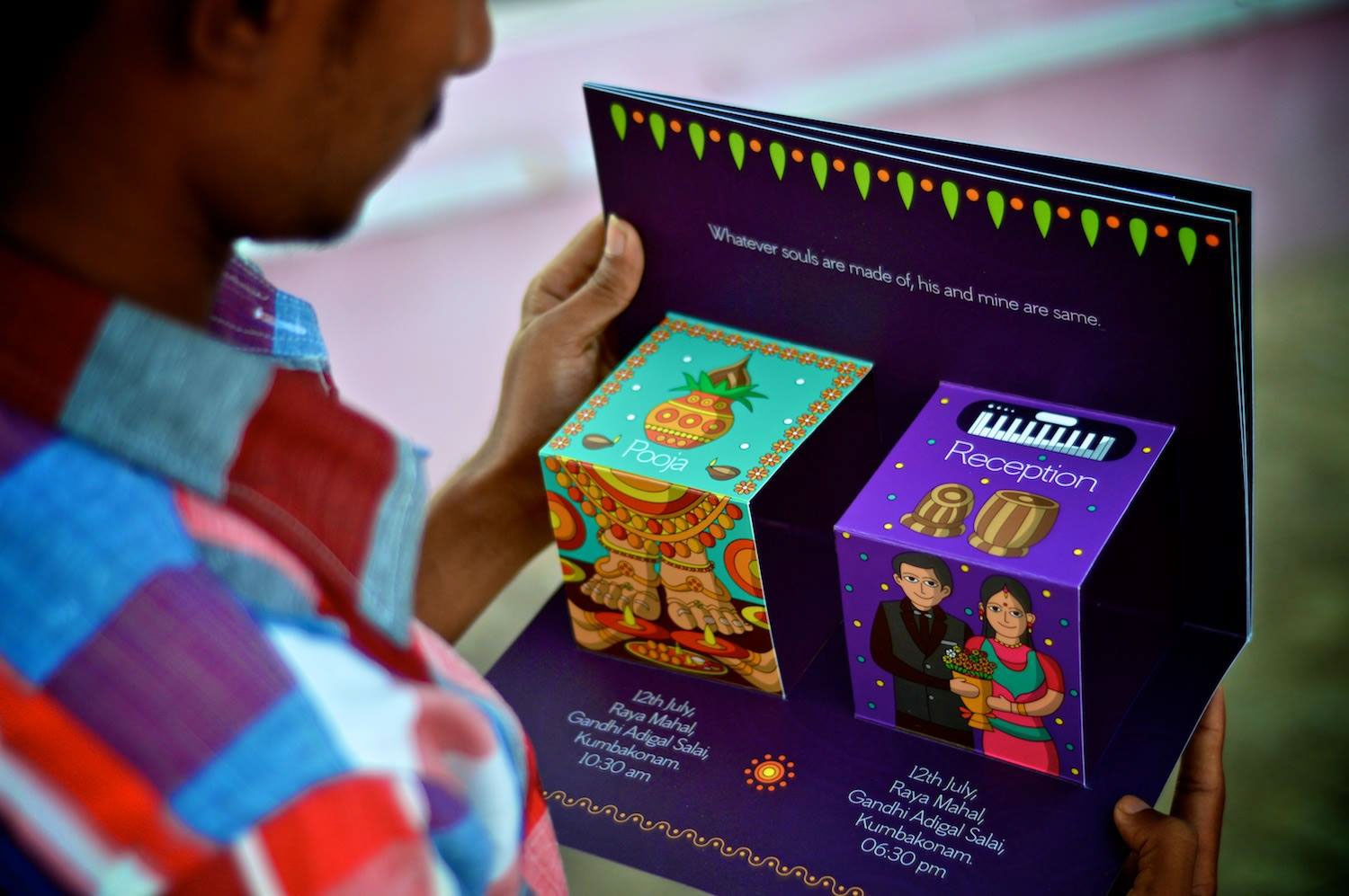 Creative pop up south indian wedding invite