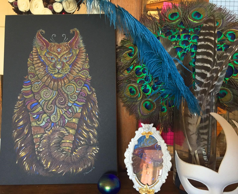 A photo of Maine Coon Cat Totem original artwork in full