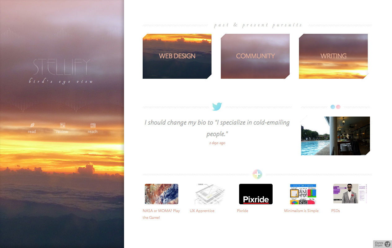 Lower half of the old homepage.