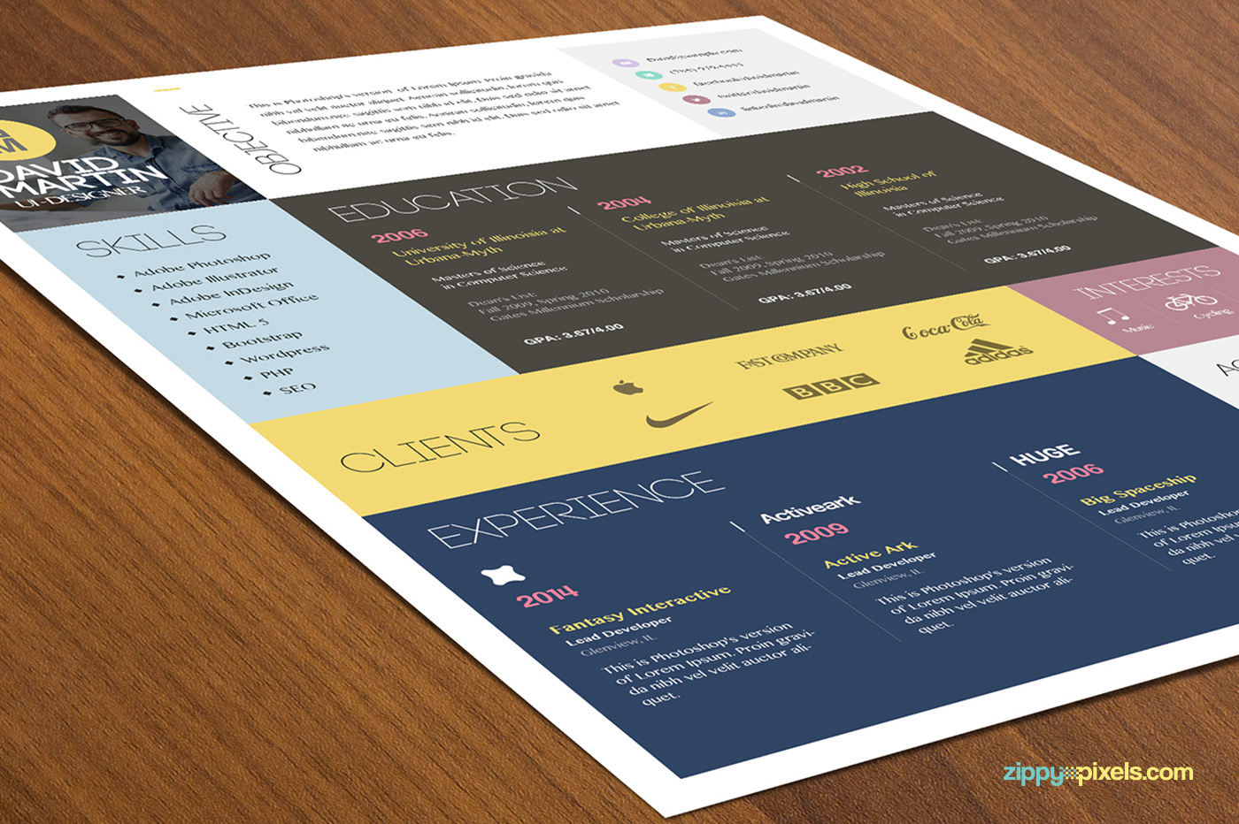 Simple and Colorful Resume & Cover Letter Template on Behance