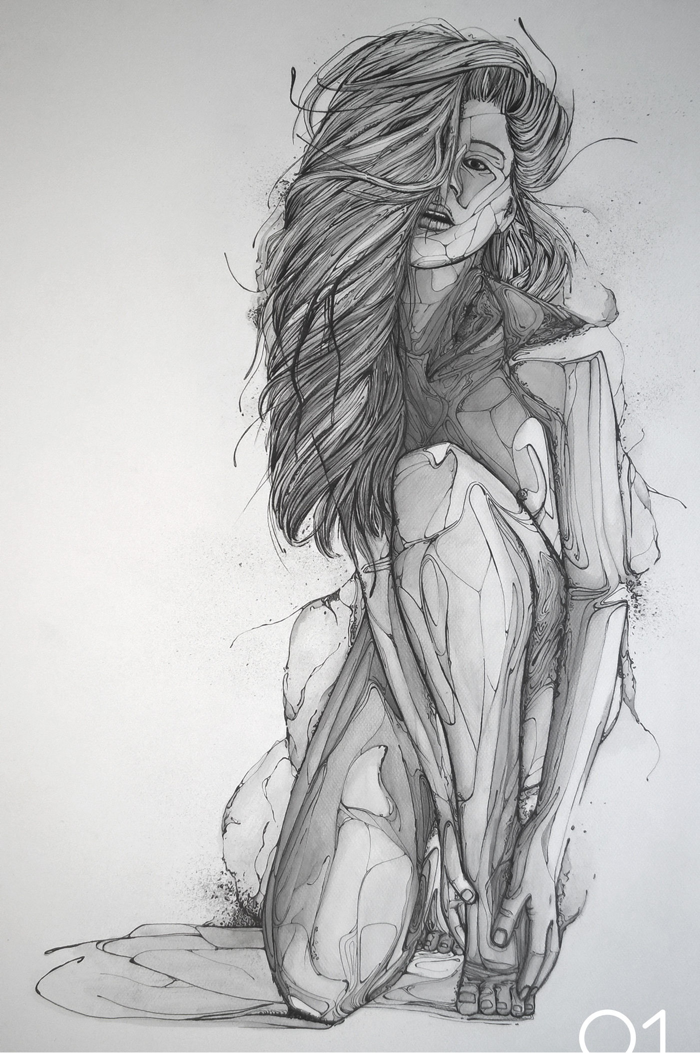 Ecume graphic nude drawing on behance