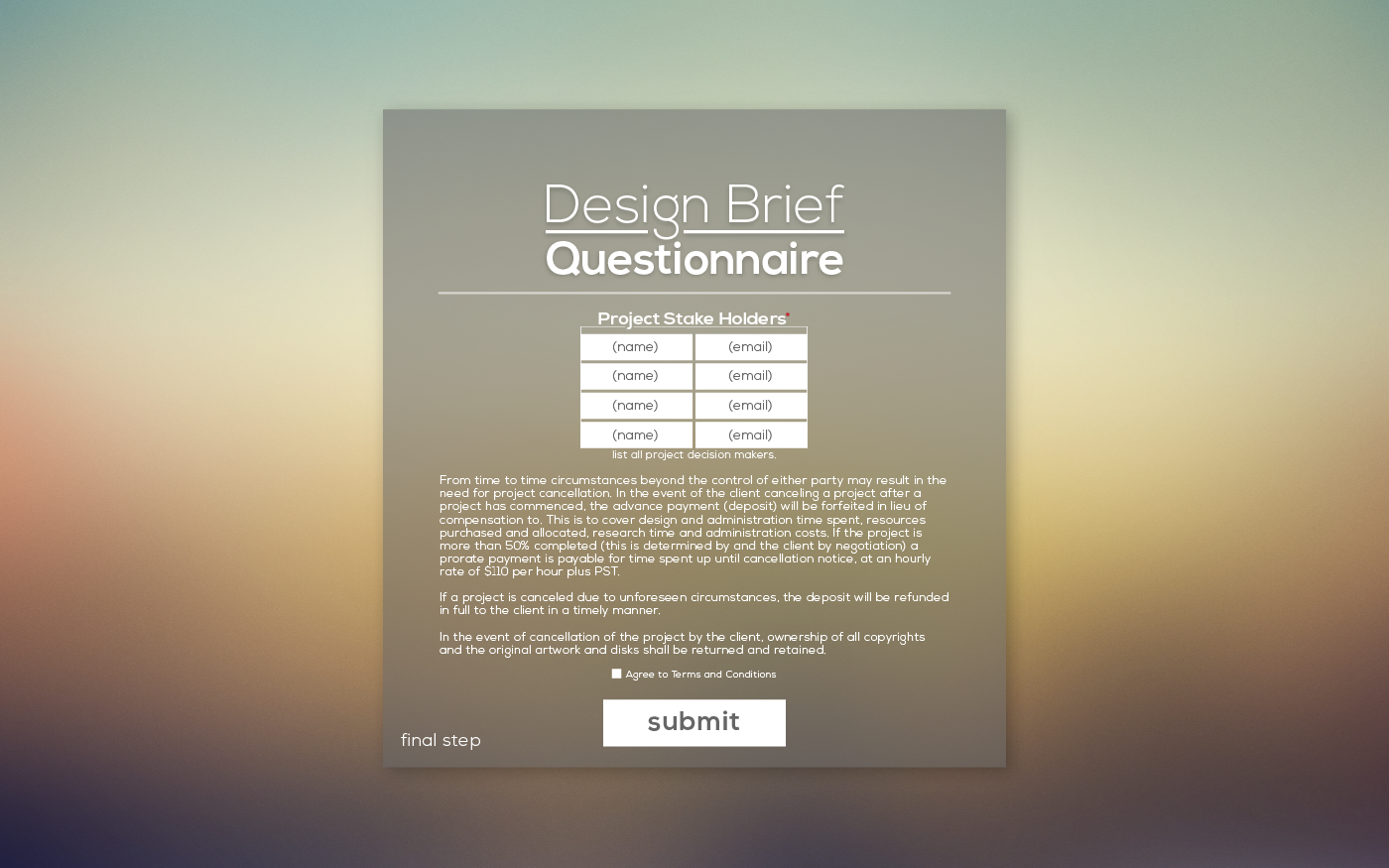 travis trout online form wireframe template