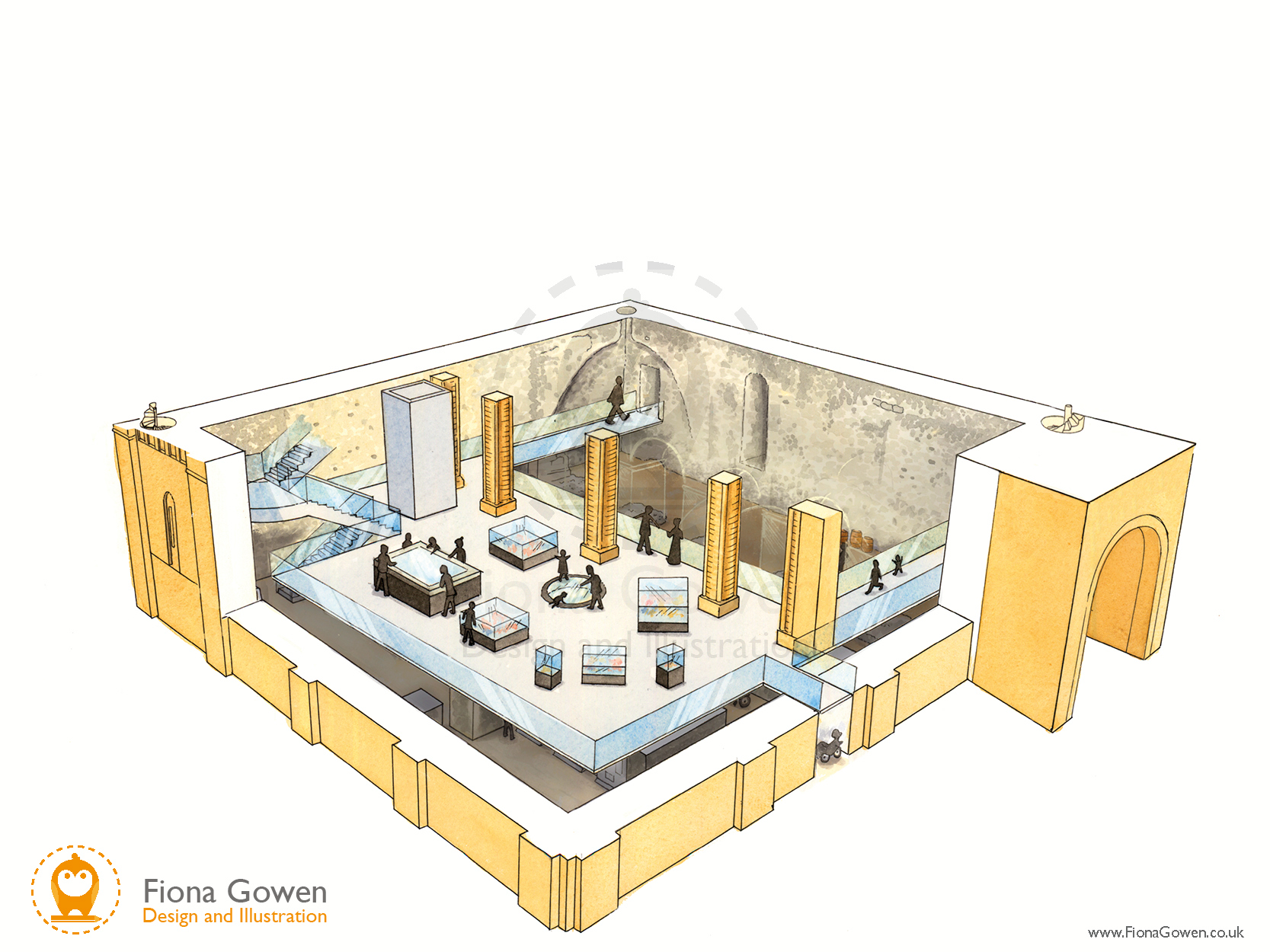 An artist's impression cut-through illustration showing the first floor of the proposed Norwich Castle Keep redevelopment project. Showing visitors looking at displays.