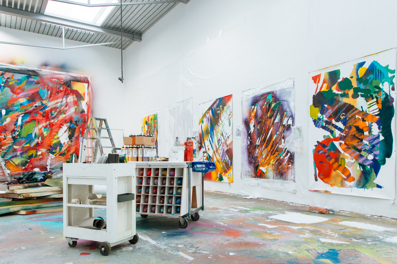 Spray gun artist Katharina Grosse in her Berlin studio, 2014