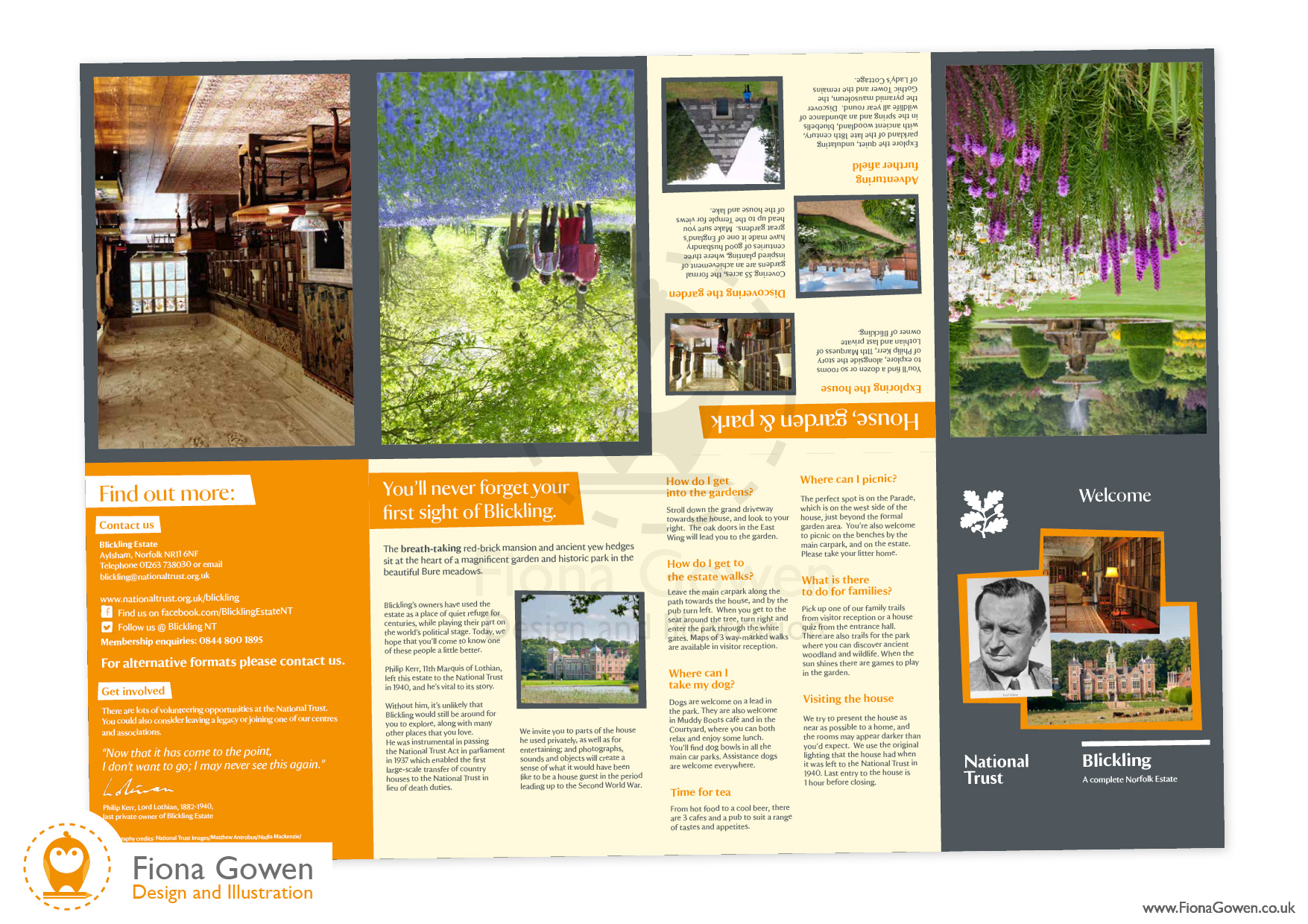 National Trust visitor leaflet for Blickling Estate, with illustrated map. Design and illustration by Fiona Gowen