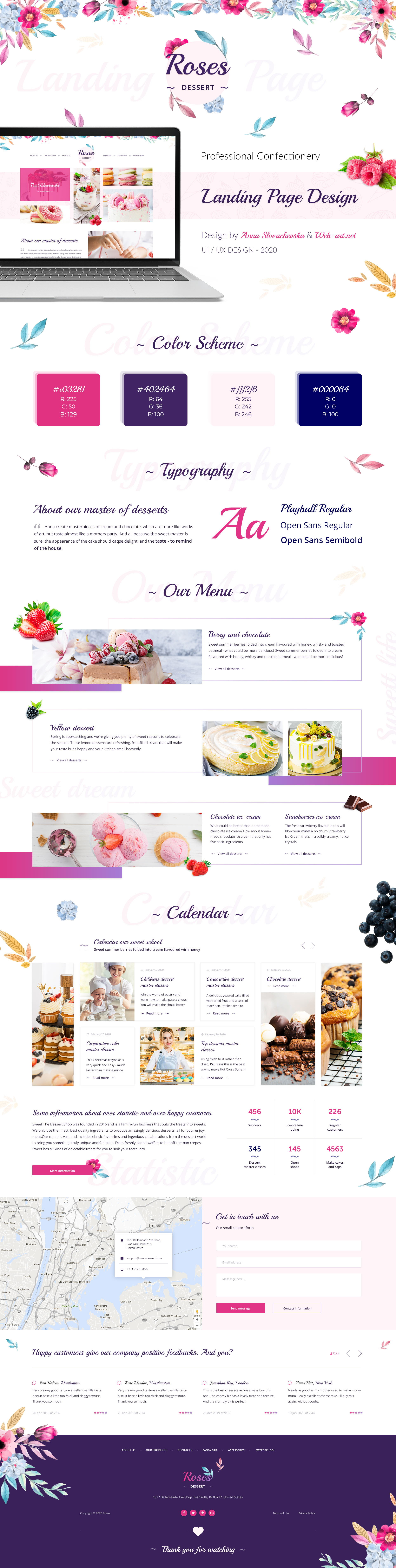 Landing page for a confectionery