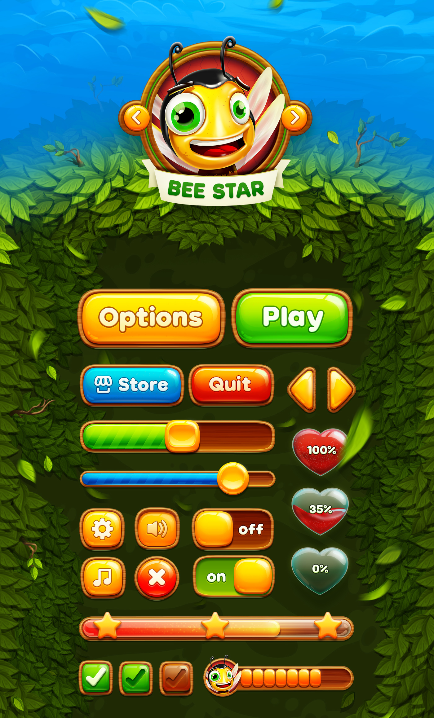 Bee Star game UI kit on Behance