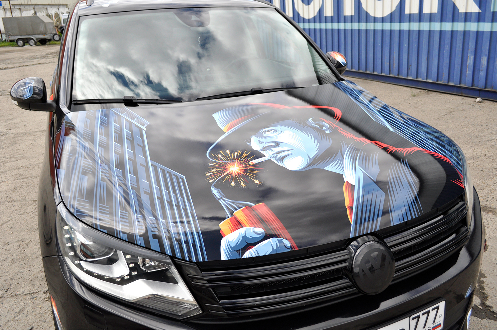 Illustrations for Tiguan vinyl wrapping on Behance