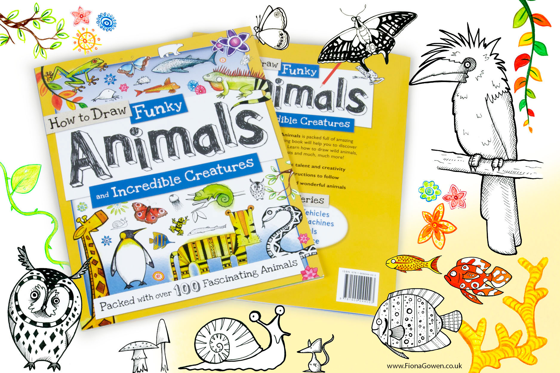 How to Draw Animals Book illustrated by Fiona Gowen. Featured illustrations include a bird, fish, butterflied and a snail.
