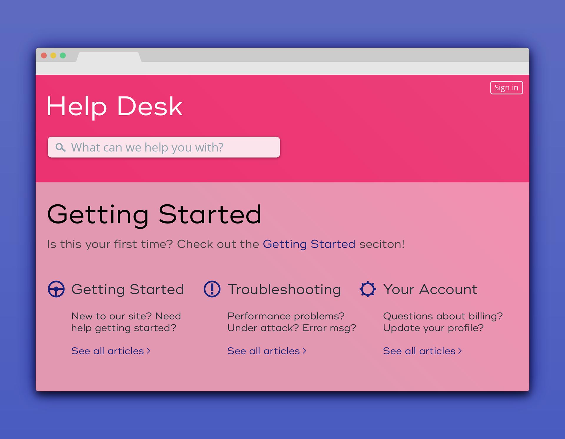Help Desk Page Design on Behance