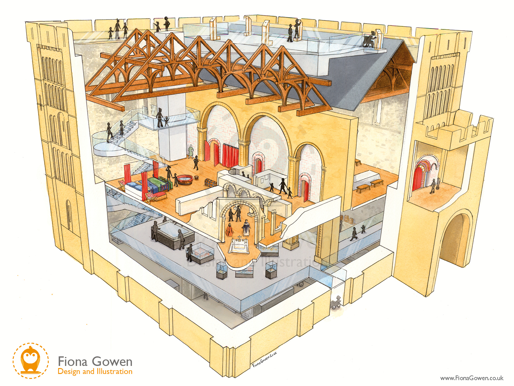 An artist's impression cut-through watercolour illustration of Norwich Castle, showing the proposed new floor levels and redevelopment of the castle keep.