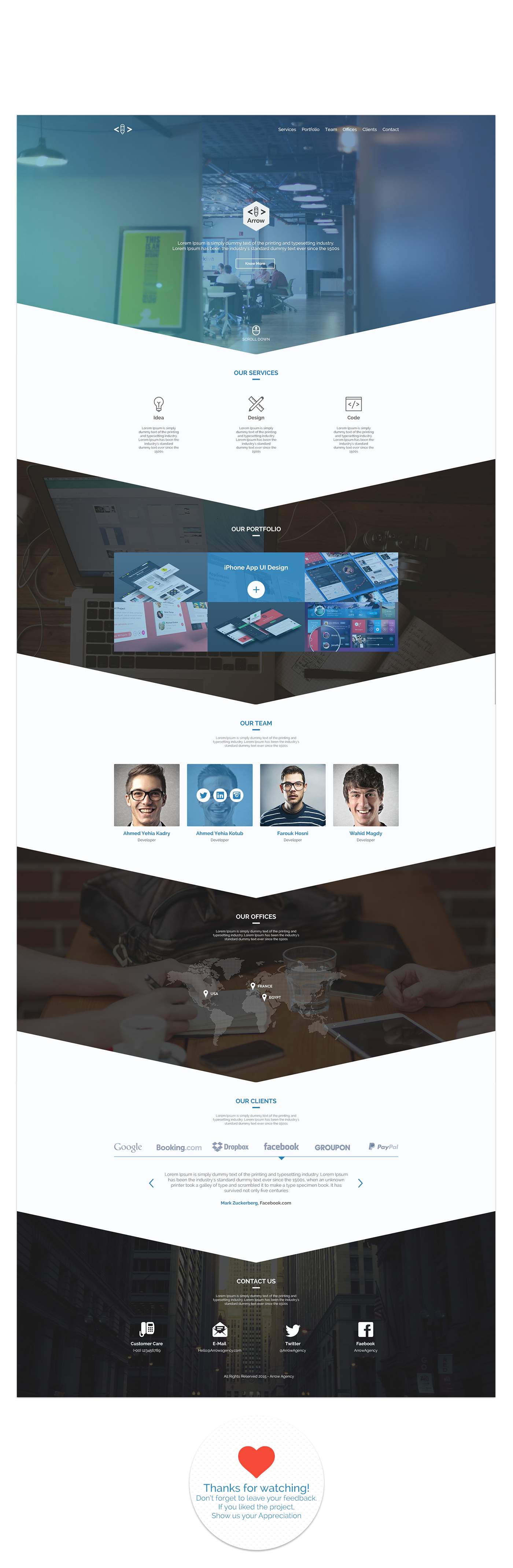 Arrow free one page business portfolio psd template on behance pronofoot35fo Images