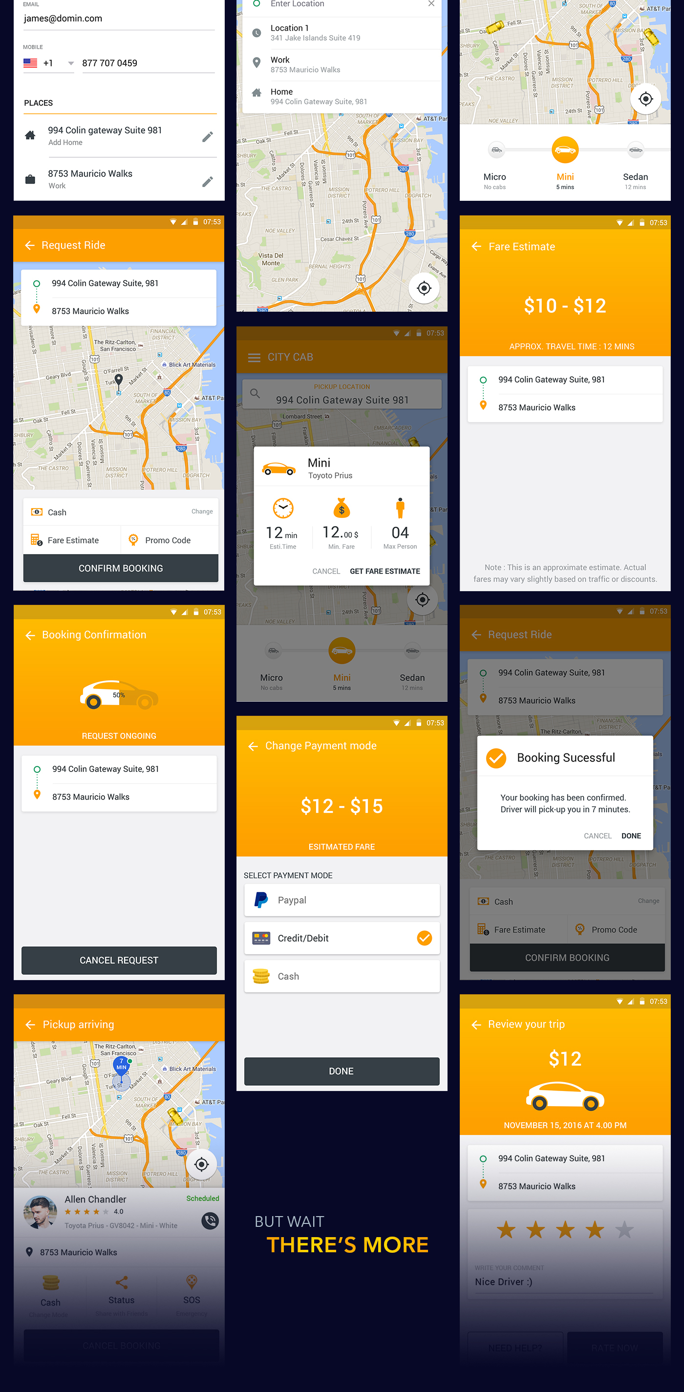 Download Free UI PSD for Uber like Taxi Mobile App on Behance
