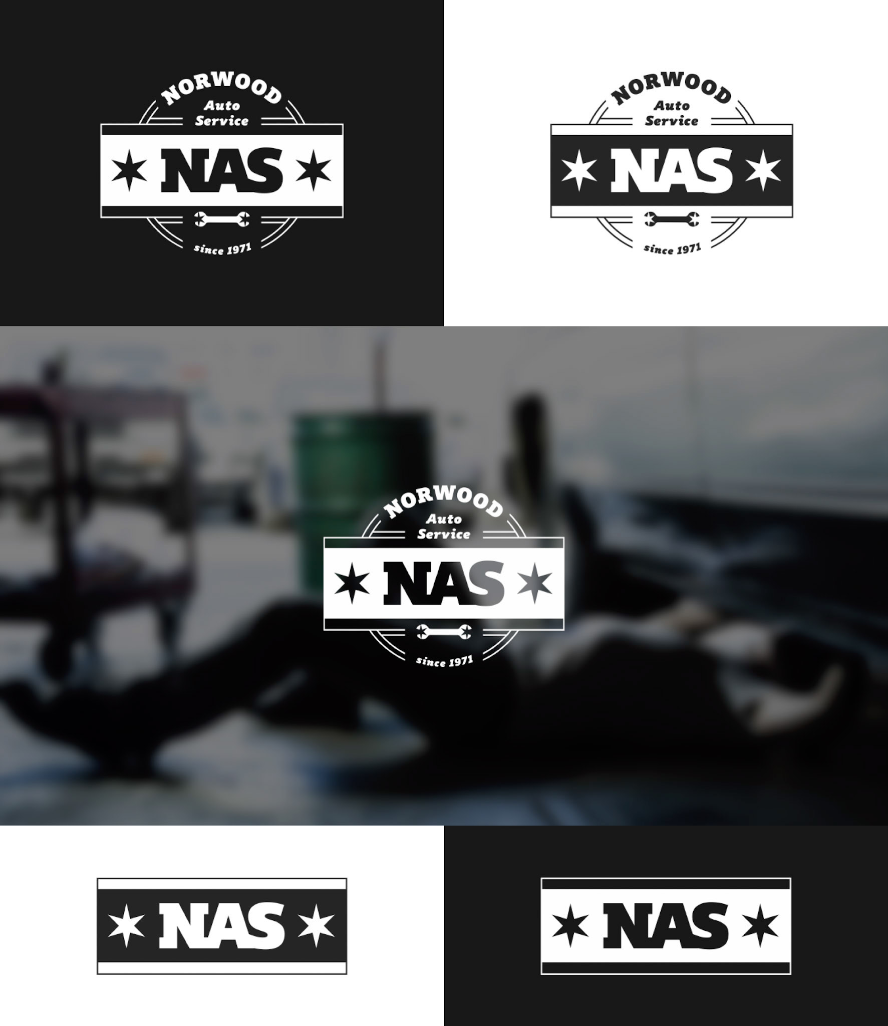 The top of this image shows the white logo on black, as well as the black logo on white. The middle of the image shows the white logo overlaid on a blurred background of a mechanic working under a car. The bottom of the image shows the shorthand version of the logo, in a similar layout as the top of the image.