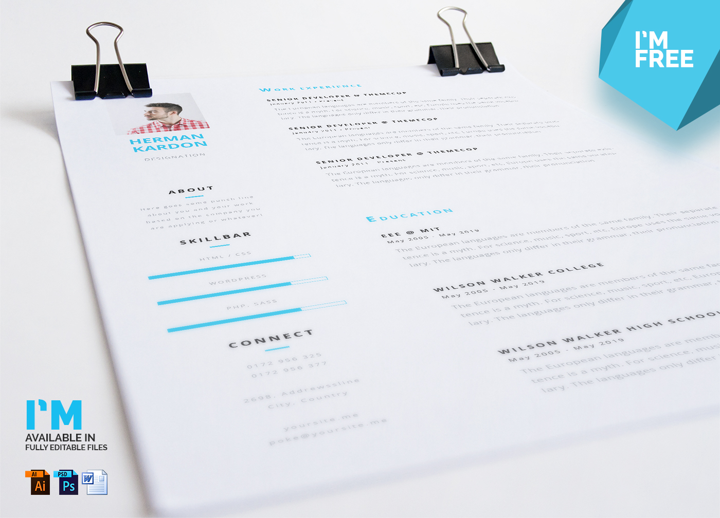 free resume cv in photoshop illustrator ms word on behance
