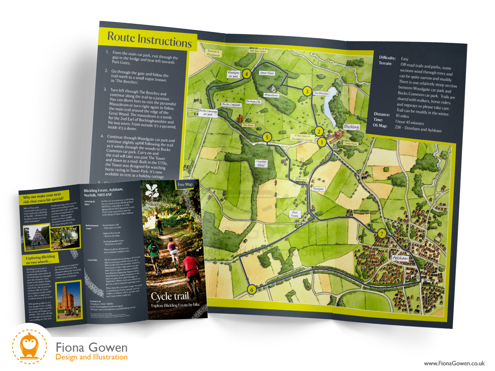 National Trust illustrated map. Blickling Estate Cycle map leaflet. Design and map illustration by Fiona Gowen