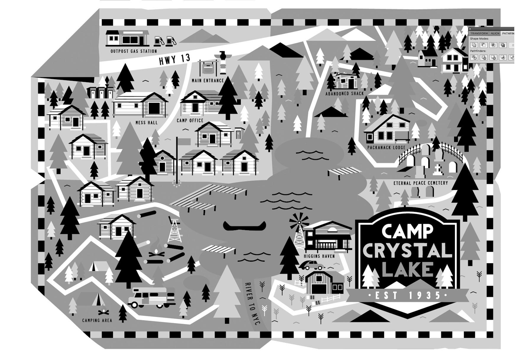 camp crystal lake map Camp Crystal Lake Illustrated Map On Behance camp crystal lake map