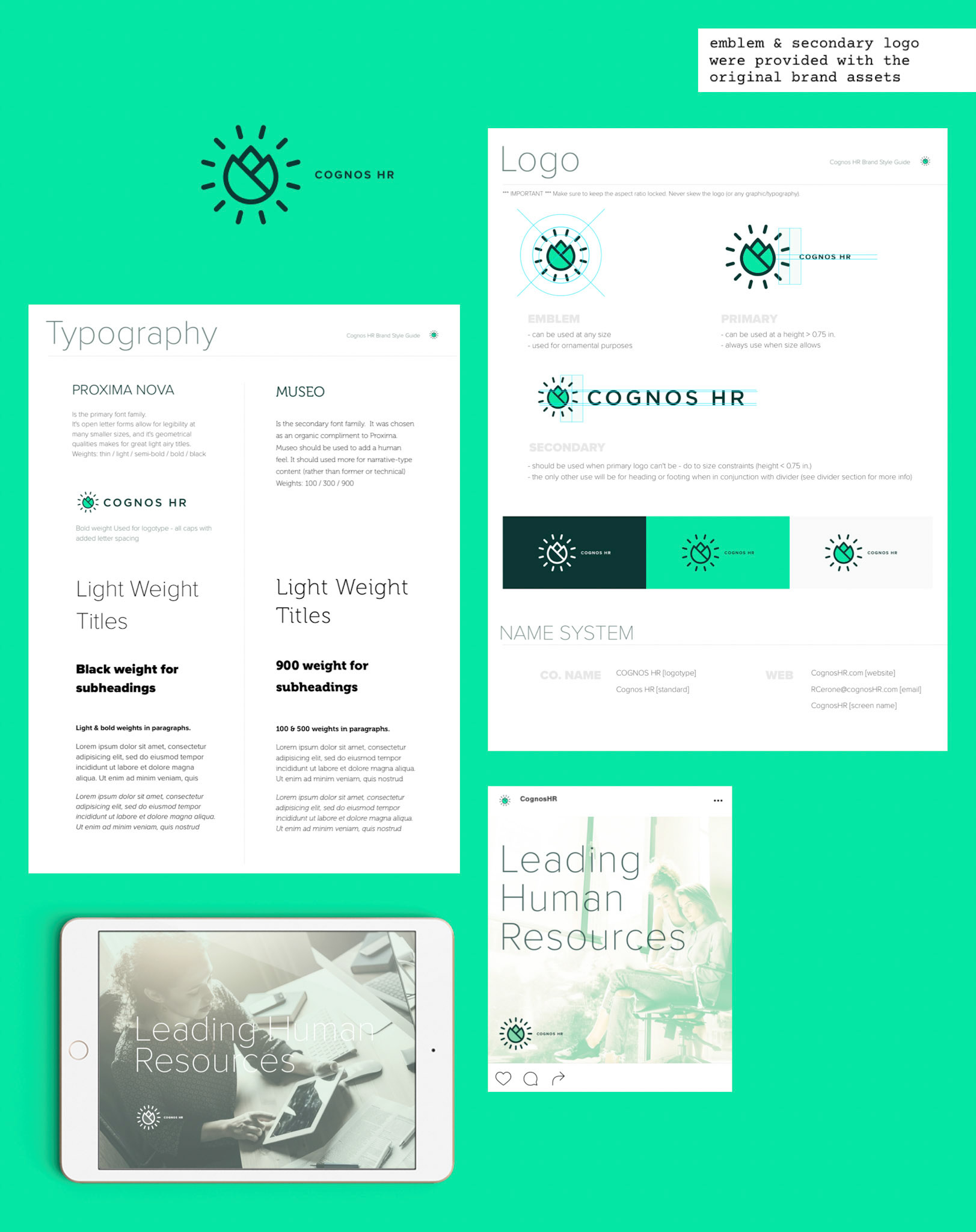 This shows the brand's typography, logo forms, colors, and examples of using image with text.