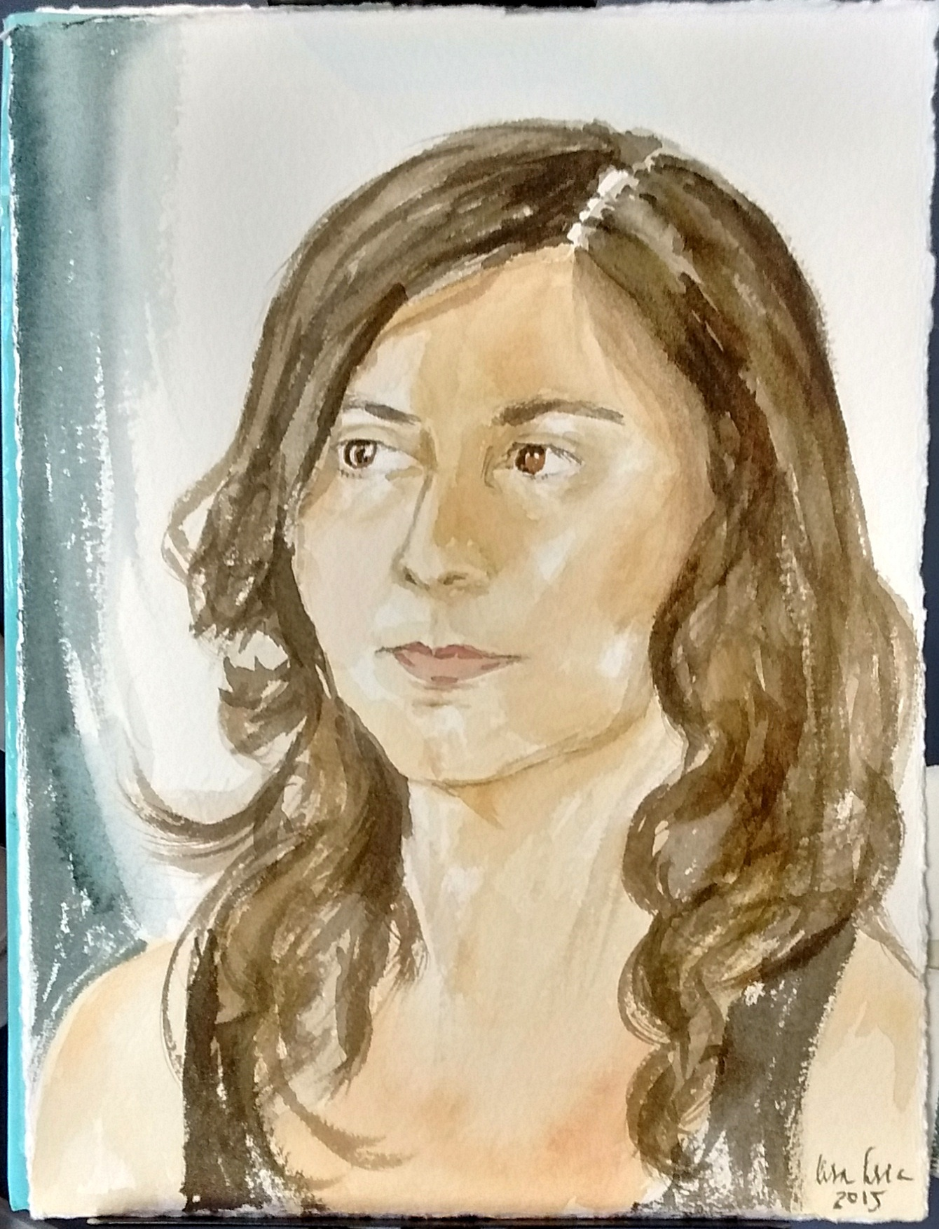 Portrait of Roula in watercolor, 2015
