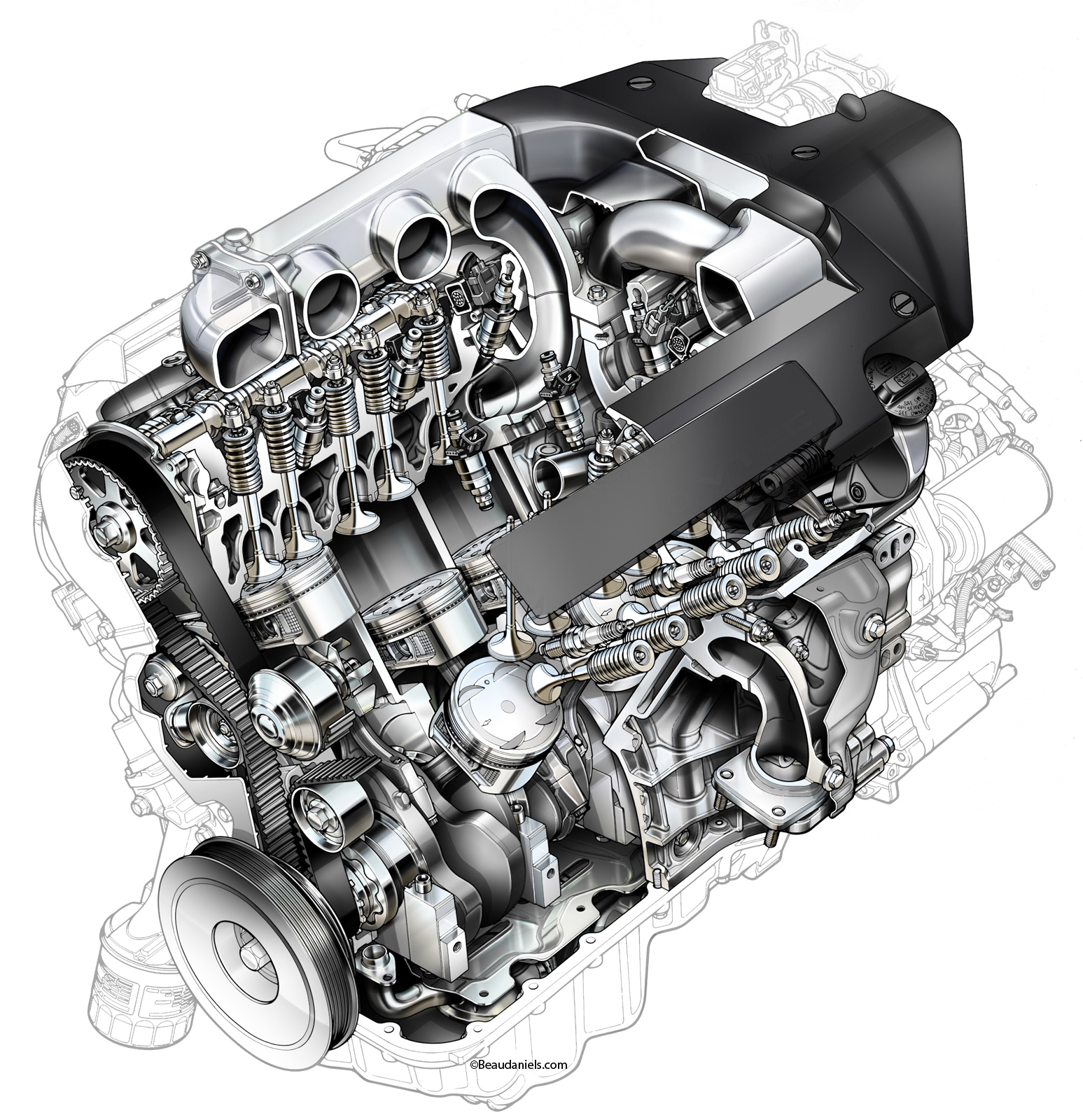 cutaway automotive engines on behance detailed engine diagram engine cutaway diagram #49