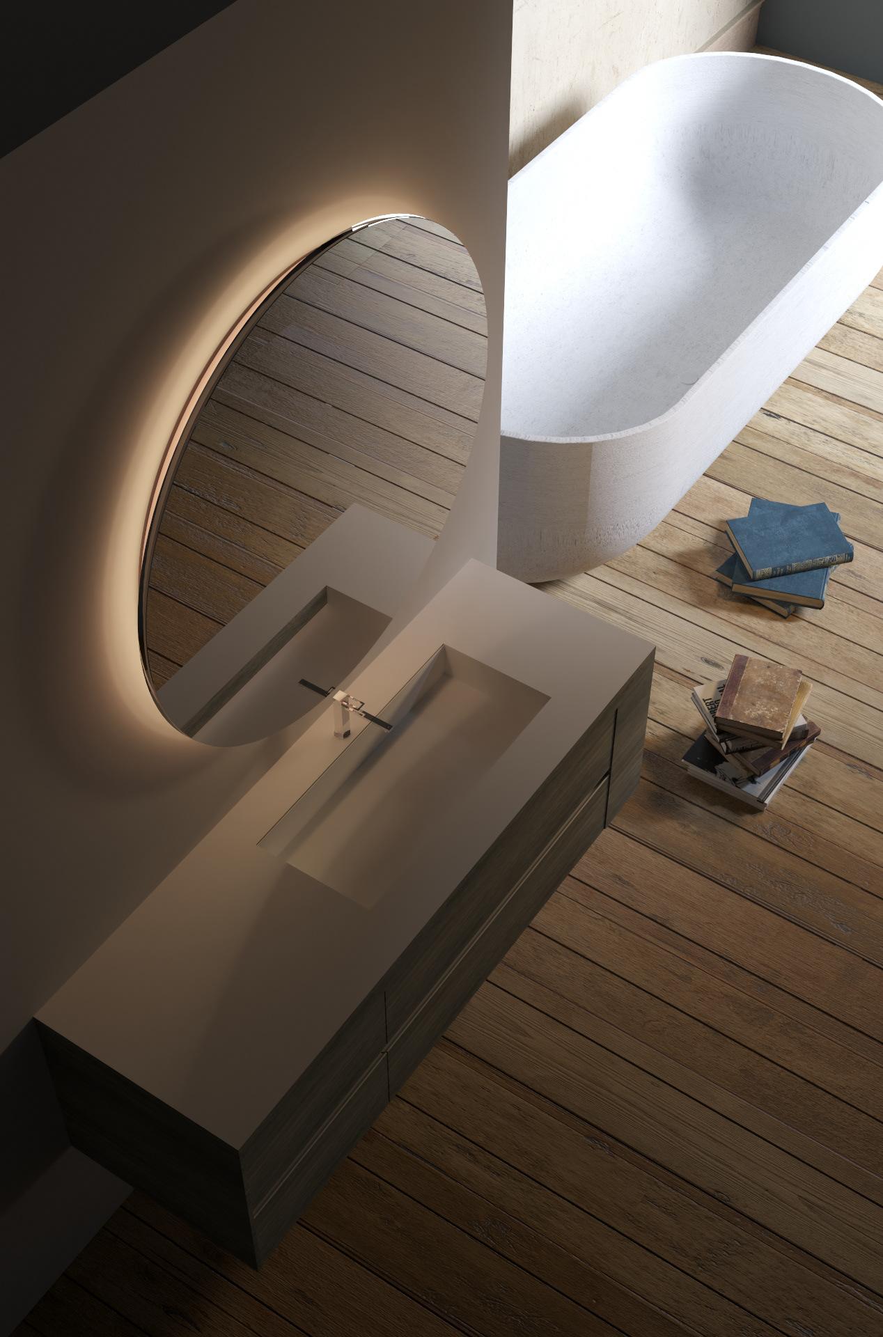 Runder Badspiegel