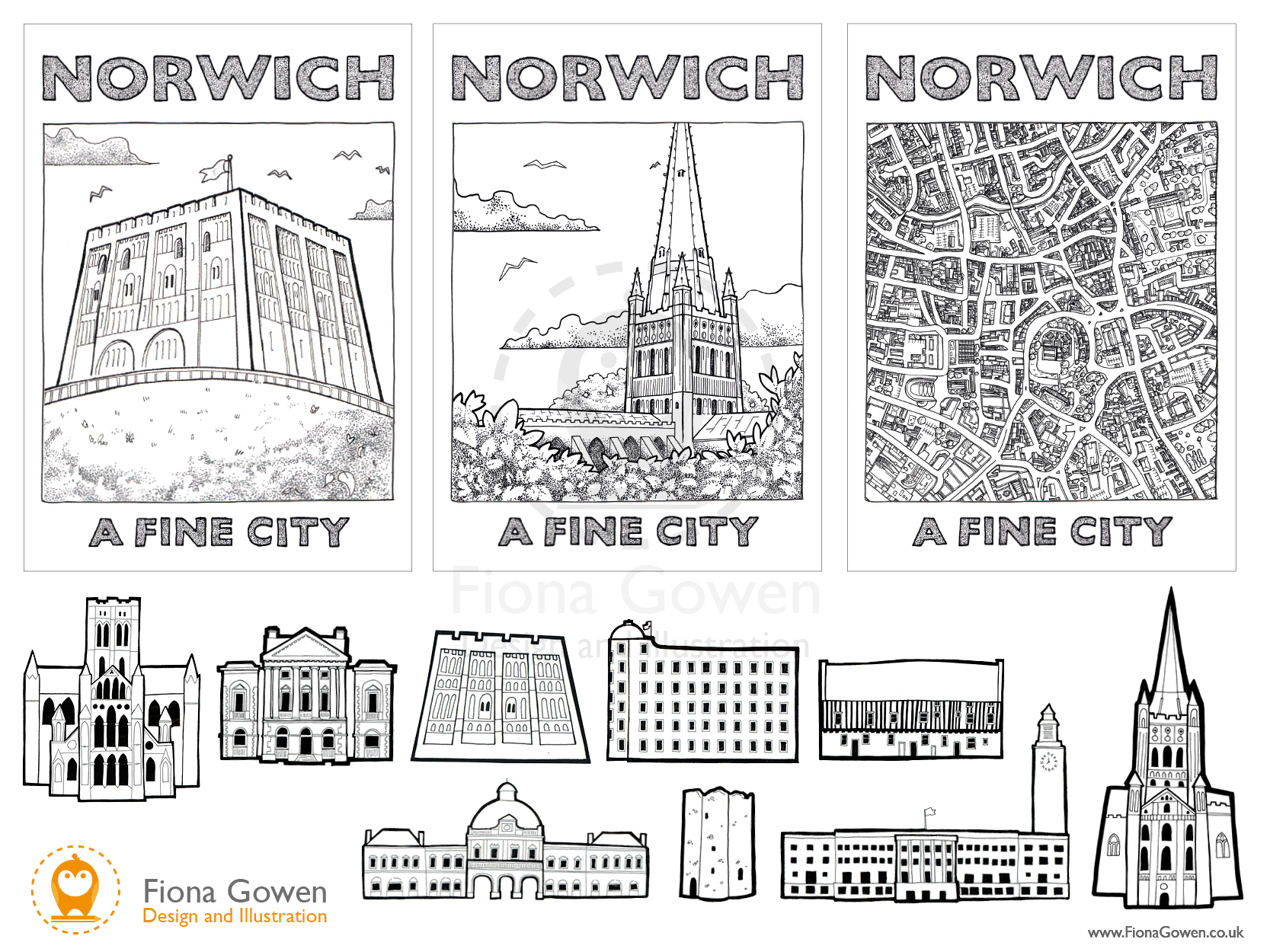 Illustrated icons of key Norwich buildings and postcards featuring illustrations of Norwich Castle, Norwich Cathedral and a map of central Norwich by Norwich Illustrator Fiona Gowen