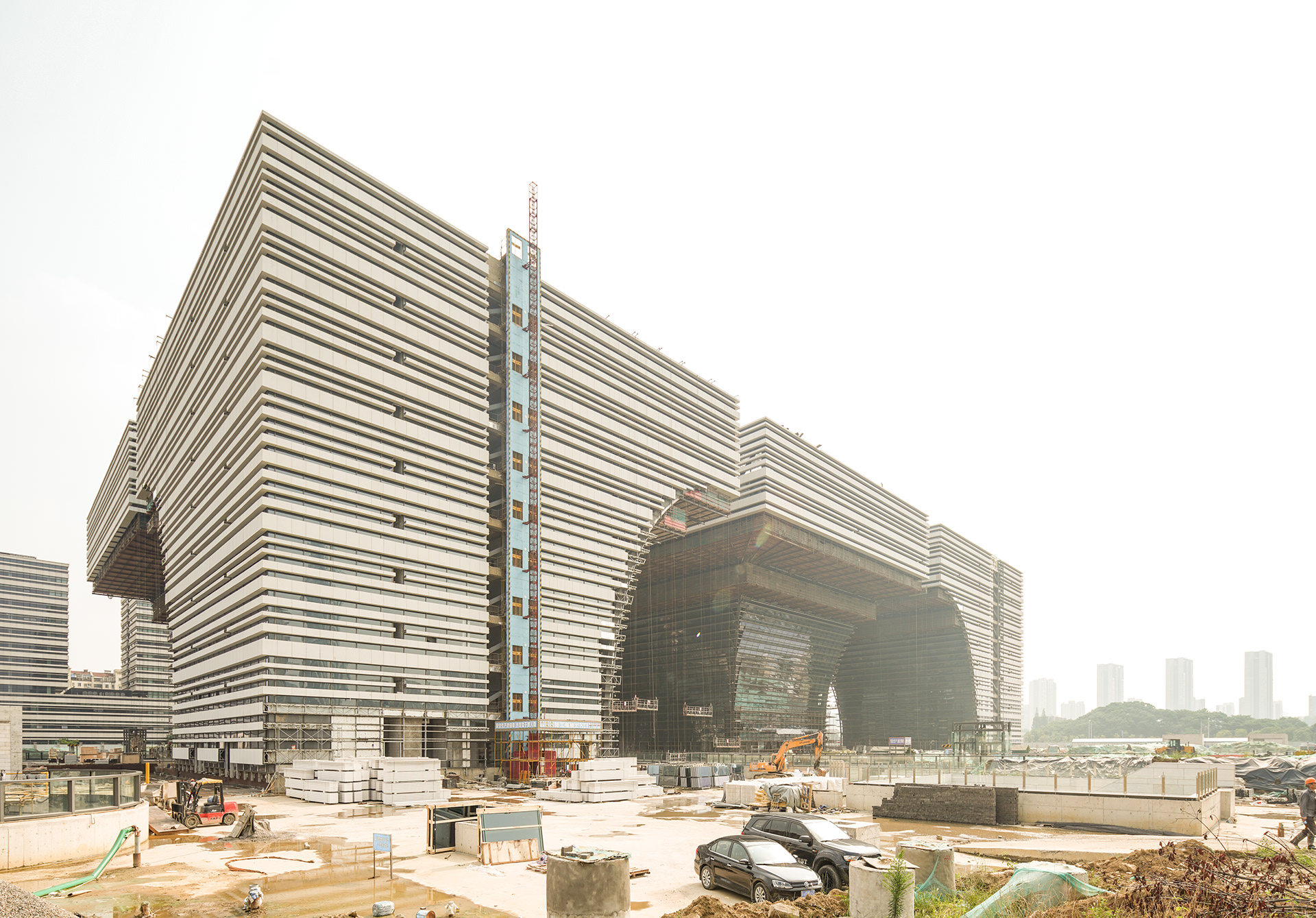 Colossal construction of an upcoming Culture Center in Changzhou, China
