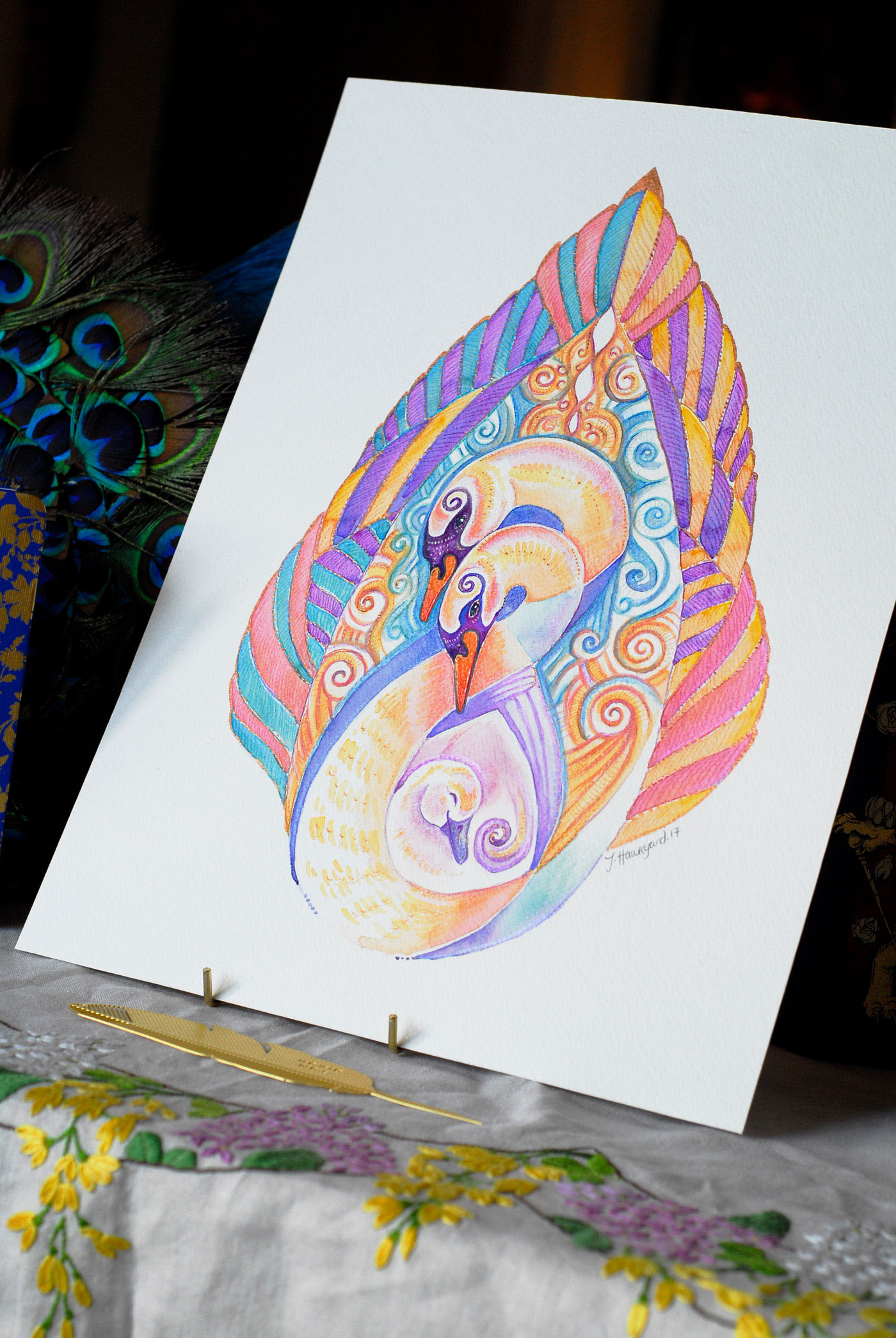 Close up photo of Swan Totem by Jennifer Hawkyard