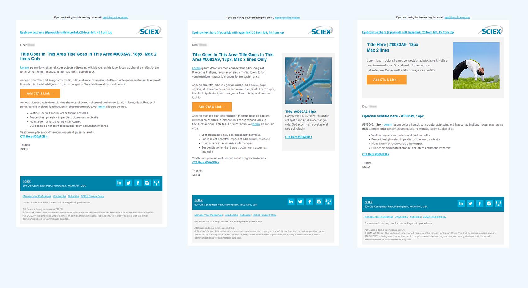Eloqua Email Templates Development: SCIEX on Behance