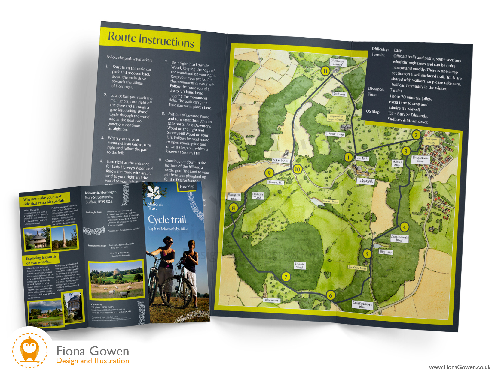 National Trust Ickworth Cycle map leaflet. Design and national trust map illustration by Fiona Gowen