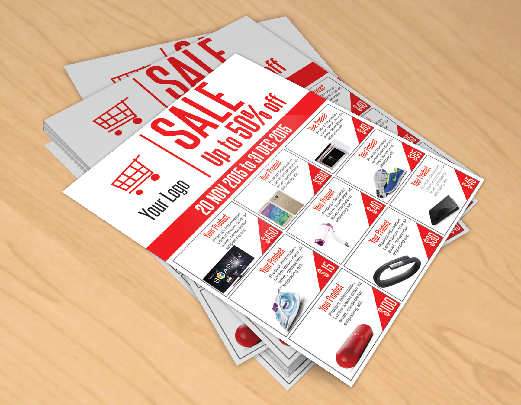Sale Flyer Free PSD Template Download On Behance - Free templates for brochures and flyers