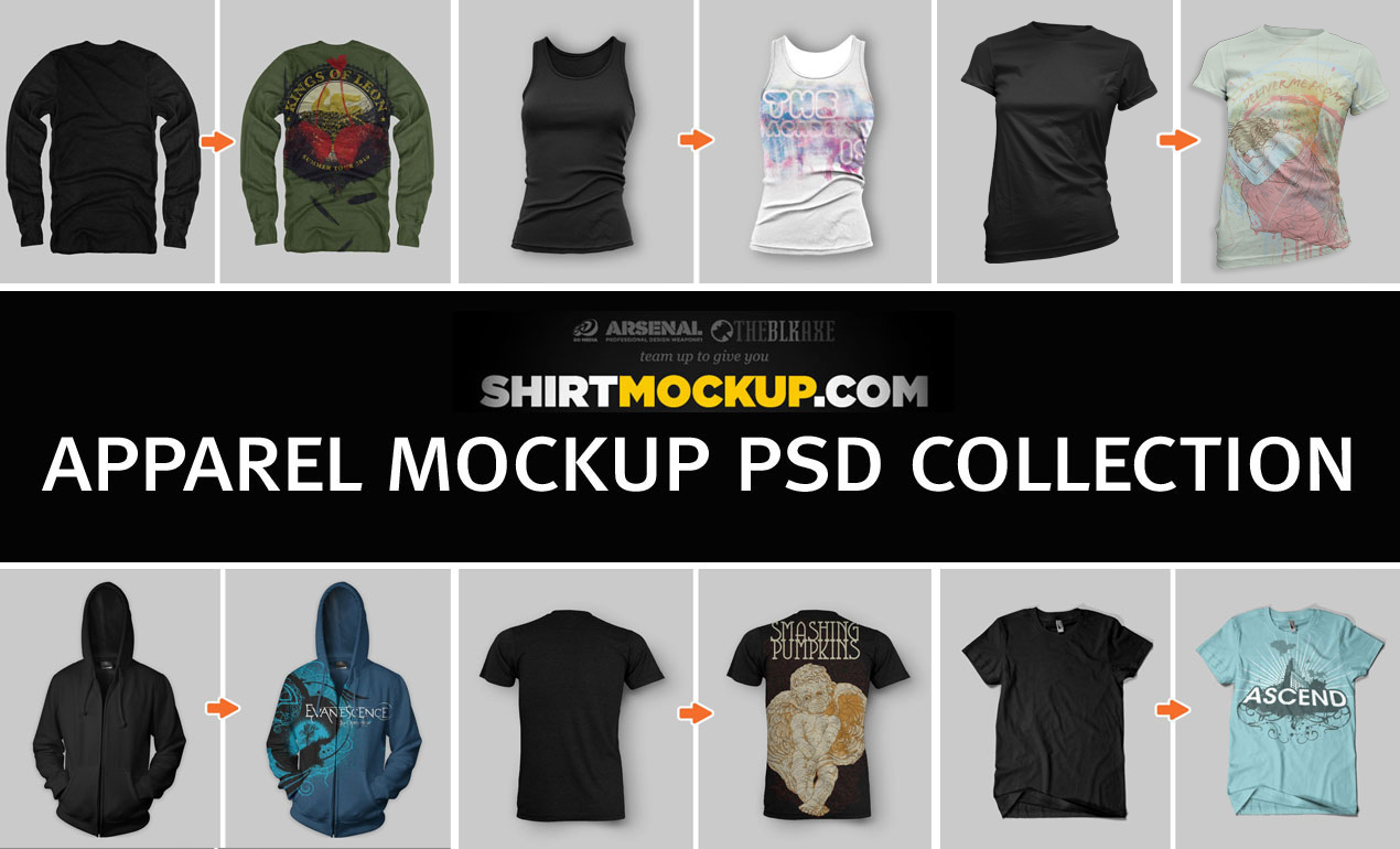 ShirtMockup com Apparel Mockup PSD Collection on Behance