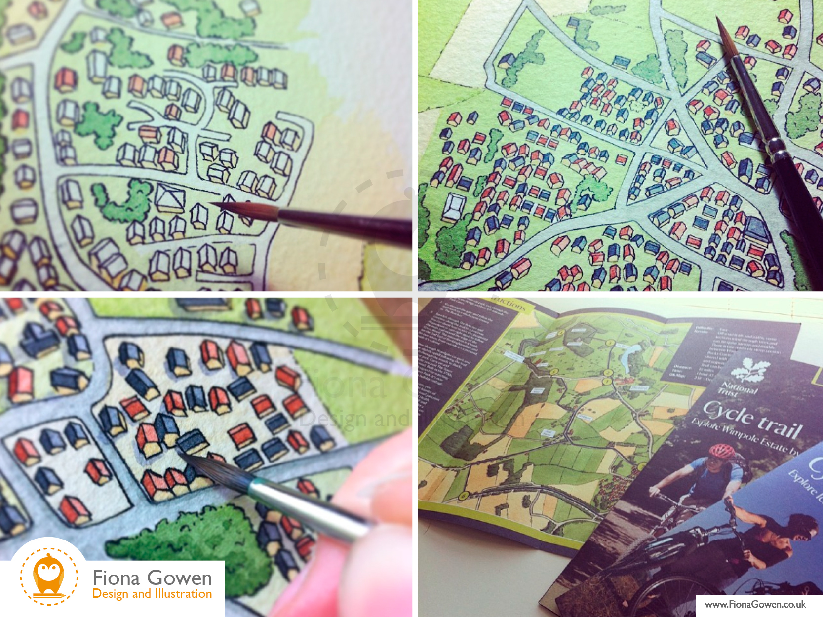 Work in progress photos of Fiona Gowen painting illustrated maps of Blickling using watercolours